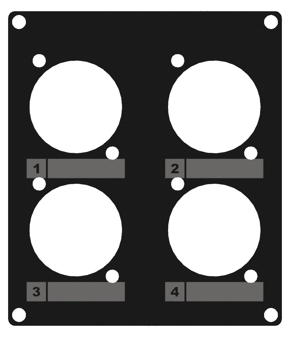 CASY 2 space cover plate - 4 x D-size holes. Black.