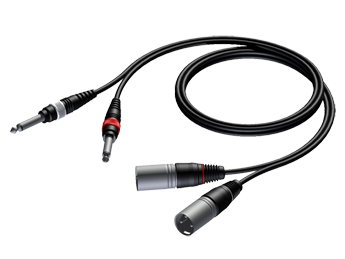 2 x XLR male to 2 x 6.3 mm Jack male - 1.5m