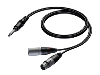 6.3 mm Jack male stereo to XLR male & XLR female - 0.6m