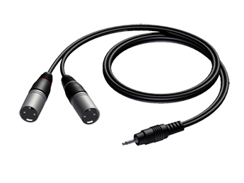 3.5 mm Jack male stereo to 2 x XLR male - 1.5m