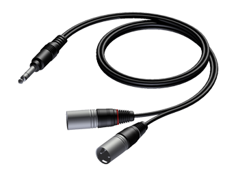 6.3 mm Jack male stereo to 2 x XLR male - 1.5m