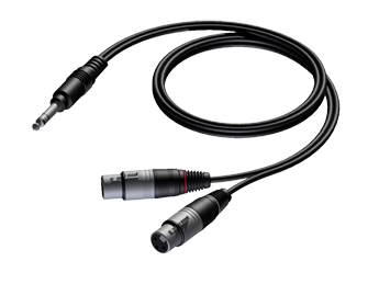 6.3 mm Jack male stereo to 2 x XLR female - 1.5m