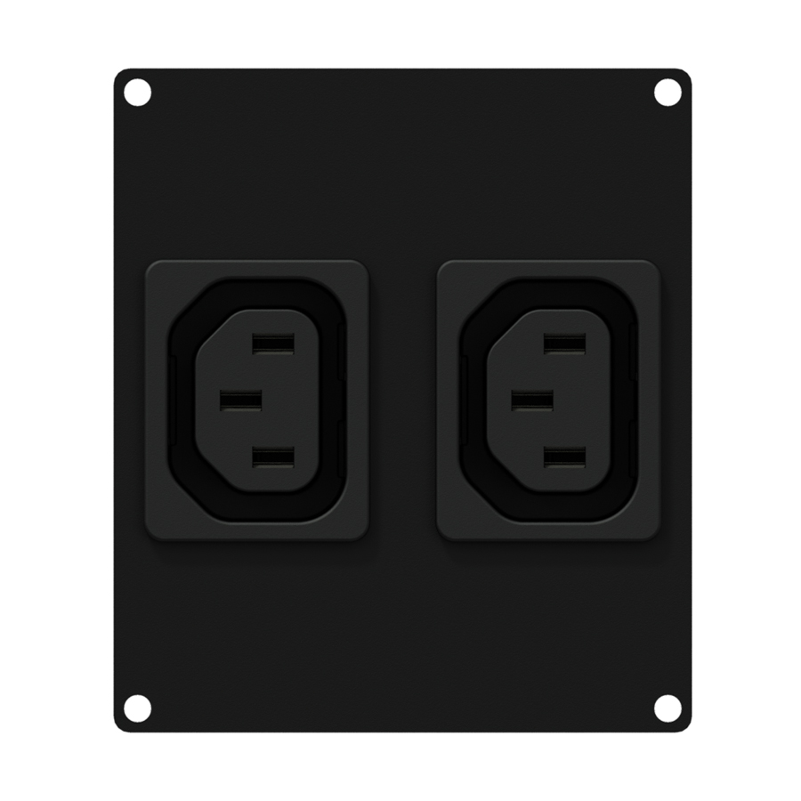 CASY 2 space 2 x euro power outlet socket. Black.