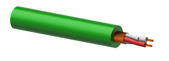 Microphone Cable 2 x 0.23mm² Green - 100m