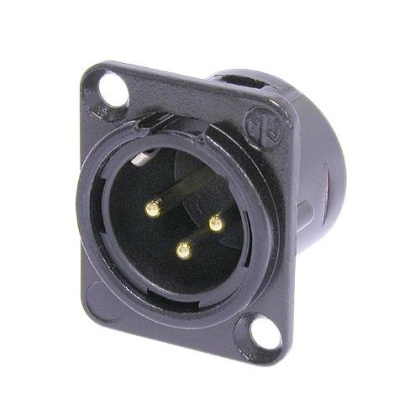 3 pole male receptacle - Black, gold contacts